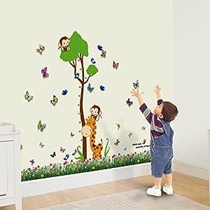 Walplus - Adhesivo de papel para pared, diseño infantil con árbol medidor marca Walplus