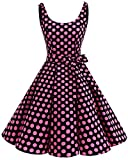 bbonlinedress 1950er Vintage Polka Dots Pinup Retro Rockabilly Kleid Cocktailkleider Black Pink Big Dot S