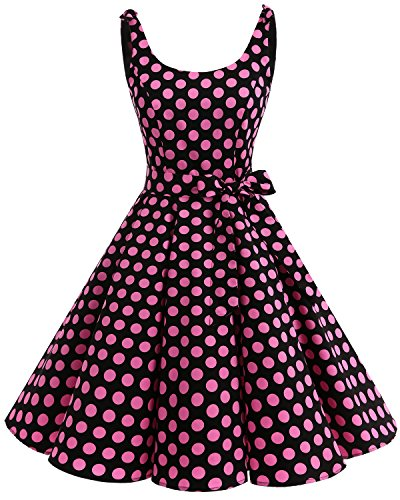 bbonlinedress 1950er Vintage Polka Dots Pinup Retro Rockabilly Kleid Cocktailkleider Black Pink Big Dot M