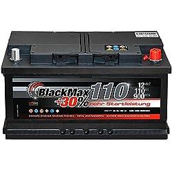 Autobatterie 12V 110Ah 900A BlackMax PKW Batterie ersetzt 88Ah 100Ah 105Ah