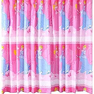 Childrens kids girls disney princess ready made curtains for Childrens curtains uk