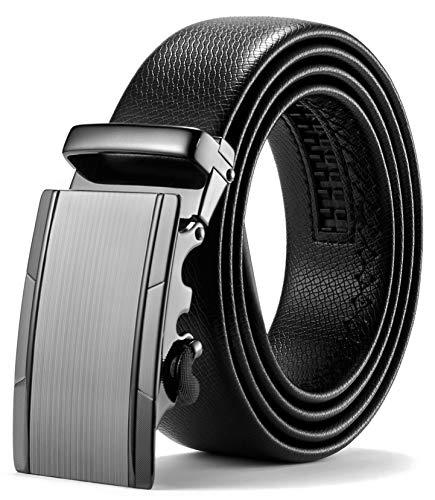 ITIEZY Herren Gürtel Ratsche Automatik Gürtel für Männer 35mm Breit Ledergürtel, Schwarz 118, Länge: Bis zu 49,21 Inches (125cm) (Herren-gürtel Einzigartige)