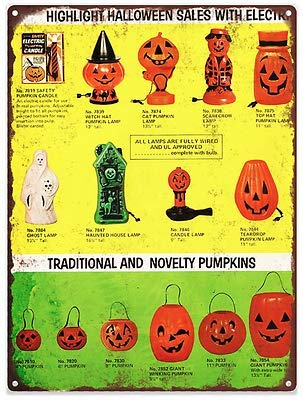 Rebecca Simpson Vintage Halloween Blow Mold Advertising Ad Baked Metal Repro Sign 9 x 12