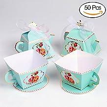 AerWo - Juego de 50 cajas de regalo con forma de tetera y 50 cajas de regalo con forma de taza para fiestas de novia, baby shower y decoración para la hora ...