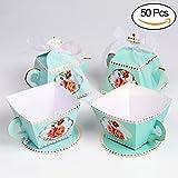 AerWo - Juego de 50 cajas de regalo con forma de tetera y 50 cajas de regalo con forma de taza para fiestas de novia, baby shower y decoración para la hora del té