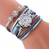 LSAltd Damen Art und Weisediamant-Verpackung Um Uhr Lederoid Quarz Armbanduhr (Licht Blau)