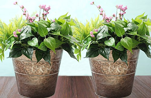 plant-containers-garden-planters-flower-pot-gardening-urn-pots-rose-gold-tin-13-inch-set-2