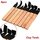 Generic 8Pcs Pottery Sculpture Clay Tool Knife Wooden Handle Modeling Tools
