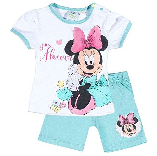 ion 2018 T-Shirt und Kurze Hose 56 62 68 74 80 86 92 Shirt Shorts Mädchen Maus Set (Weiß-Blau, 86-92) (Minnie Kleid Für Kleinkinder)