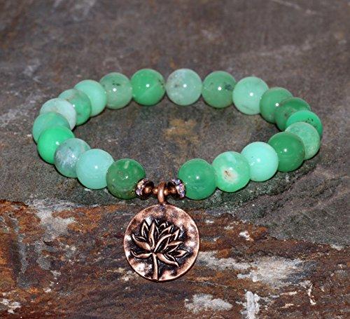 Pulsera de Crisoprasa pulsera minimalista boho chic, grado AA, piedra preciosa natural verde, joyería verde, pulsera verde, pulsera de cuentas de Crisoprasa de 8 mm con flor de Lot