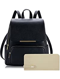 Alice Women's Backpack Handbag With Clutch Combo (Prebkp9 Clutch ) - Black