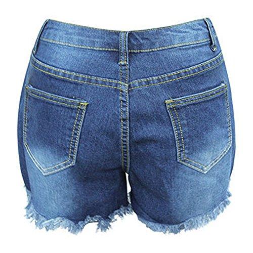 Damen Vintage Freizeit Denim Kurz Jeans Loch Hot Pants Hohe Taille Jeans Shorts Denim Shorts Used-Washed Dunkelblau
