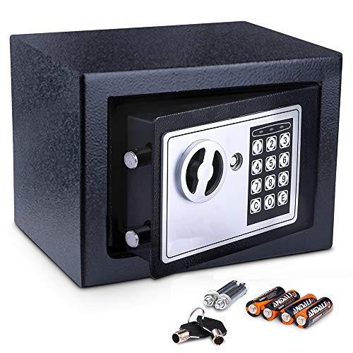 Meykey Cassaforte Elettronica, Cassaforte Piccola,2 Chiave per apertura d'emergenza,23 × 17 × 17 cm, Nero