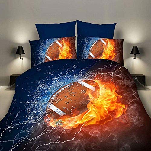 eujiancai 3D Bedding Set, Sports Themed Bed Set, 3PC Rugby Printed Duvet Cover and Pillowcase Set for Teens Boys, Decorative College Bedroom Bedding, No Comforters (200 X 230cm) (Rugby 200 X 230cm)