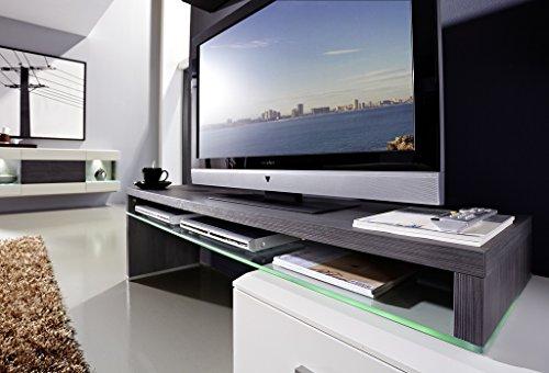 Design Wohnwand 4-teilig, mit Glasvitrinen, – Weiß Mattlack / Esche Grau Nachbildung, Soft Close-Dämpfung, Selbsteinzug, Wohngalerie Zerlegt - 3