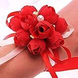 Pulsera brazalete con flores de Jungen para niñas, bodas, muñecas, novias (paquete de 2), Rojo, Diameter:7cm