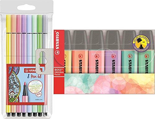 Preisvergleich Produktbild STABILO 68/8-01 Premium-Filzstift 68, 8er Pack, pastellfarben + STABILO 70/6-2 Textmarker - STABILO BOSS ORIGINAL Pastel - 6er Pack - 6 Farben