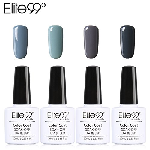 Lot Vernis Semi Permanent Elite99-4pcs Vernis à Ongles Gris UV LED Soak Off pour Kit Manucure&Nail Art 10ml-KIT07