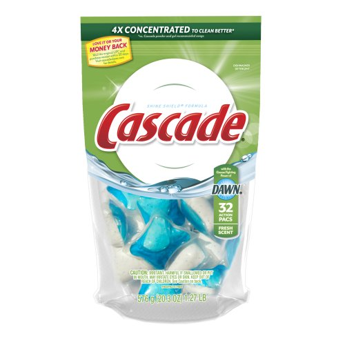 Cascade Actionpacs Dishwasher Detergent, Fresh Scent 32 Count