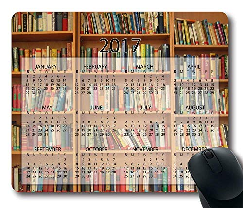 Bookshelf Library Mouse Pad - with 2017 Calendar 250mm*300mm (Alienware Wireless Keyboard)