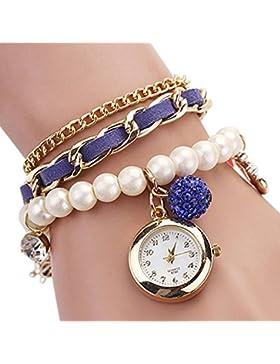 lvpai Faux Perle Strass Anker Armband Analog Quarz Leder Armbanduhr der Dame–Royal Blau
