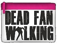 Dead Fan Walking Parody Statement Zombie Pencil Case Flat Zip Colourful Stationary Holder - Pink