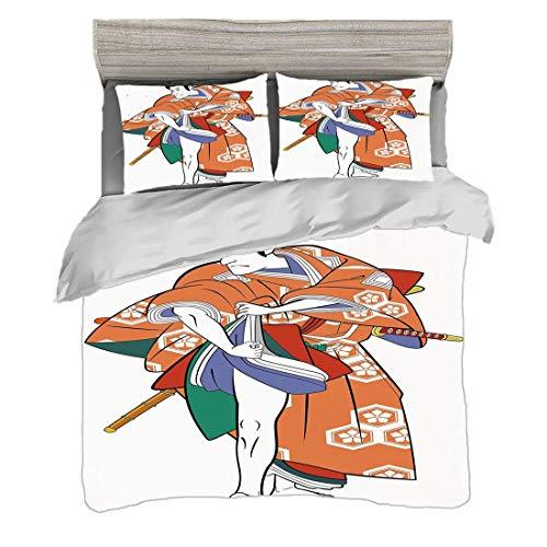Mittelalterliche Drama Kostüm - Bettwäscheset (200 x 200 cm) mit 2 Kissenbezügen Kabuki Maskendekoration Digitaldruck Bettwäsche Kabuki-Schauspieler mit traditioneller Kostüm-historischer Edo Era Drama Culture Decorative, Multicolor