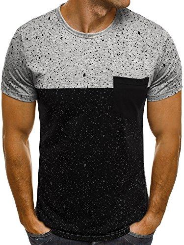 OZONEE Herren T-Shirt mit Motiv Kurzarm Rundhals Figurbetont J.STYLE SS179 Grau_JS-SS179