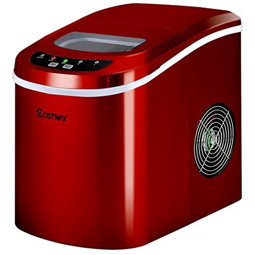 COSTWAY Eiswürfelmaschine Eismaschine Eiswürfelbereiter inkl. Eiswürfelschaufel (2 Eiswürfelgrößen, 12kg in 24 Stunden) Farbwahl (Rot)