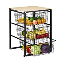 Relaxdays Metallic Basket Organiser, 3 Tier Kitchen Storage, Fruit & Veggies, HxWxD 69 x 47.5 x 53.5 cm, Black/Natural,10029582