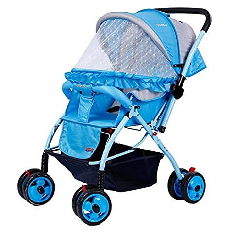 HJXJXJX Portable four wheel carts breathable anti mosquito can change Stroller Buggy Pushchair , blue