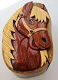 Wooden Horses Head Puzzle Box with secret key