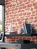Steintapete Vlies Rot Beige Edel | schöne edle Tapete im Steinmauer Design | moderne 3D Optik für Wohnzimmer, Schlafzimmer oder Küche inkl.Newroom-Tapezier-Profibroschüre mit Tipps für perfekte Wände
