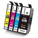 GPC Image 34xl Kompatibel Druckerpatronen Ersatz für Epson 34XL-T3471 T3472 T3473 T3474 (1 Schwarz, 1 Cyan, 1 Magenta, 1 Gelb) für Epson Workforce Pro WF-3720DWF, WF-3725DWF Drucker