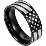 HAWSON American Flag Rings for Women and Men, Black Engraved Basic 6mm 8mm Stainless Steel Ring for Anniversary