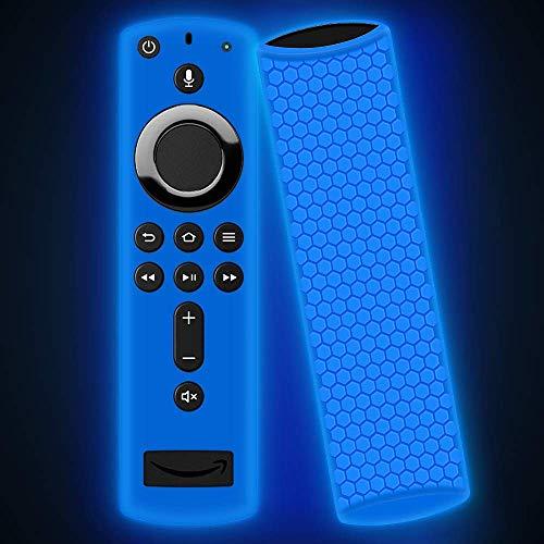 für Fire TV Stick 4K, Oyrlize Vollschutzhülle aus Silikon Stoßfest Flexible Anti-Verlust-Haut Alexa Voice Remote Hüllen für Fire TV Cube Fire TV Stick-Glow blau ()