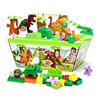 Creamon 40 Piece Dinosaur Paradise Building Blocks Set STEM Learning Mighty Dinosaur Blocks Brick Building Set Compatible with All Major Brands Dinosaur Toys,Bertom store