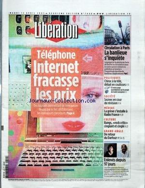 LIBERATION [No 7440] du 12/04/2005 - TEL...