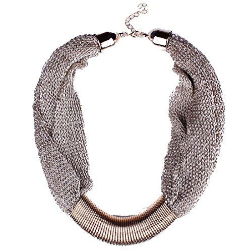QIYUN.Z Maillage De La Mode Web Chaines Gras Morceaux Tibet Collier Plastron De Cou