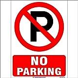 #5: SignageShop High quality Vinyl No parking Sign (Pack of 5 Nos)