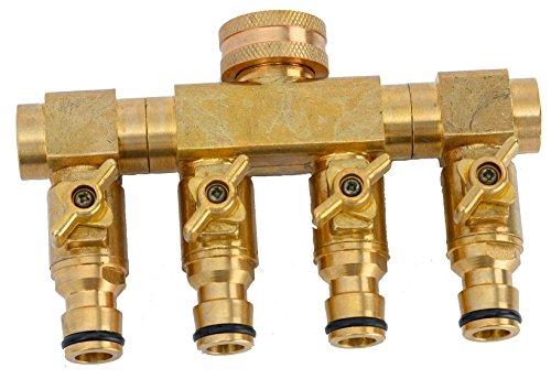 """UPP 4 Wege Wasserverteiler für 1/2\"""" & 3/4\"""" Wasserhahn - Schlauchanschluss: Außengewinde 3/4\""""   4 Rasensprenger oder Gartenschläuche an einen Wasserhahn   Einzeln steuerbar"""