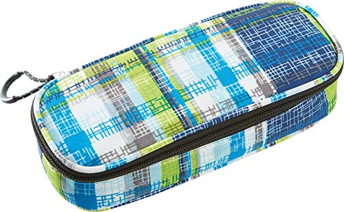 Wheel-Bee Pencil Case Schlamper-federmäpchen, Blue/Green/White, 22x9x6 cm