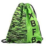 SUCES Sport Rucksack Wasserdicht Leinwand Drucken Tasche Kordelzug Strandtasche für Travel Sport Fitness Unisex Zubehör(Grün,Freie Größe)