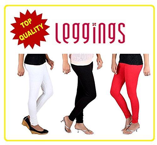 Combo of-3 Ultra Soft Cotton/Lycra Churidar Basic Solid Regular, Best Seller Leggings...