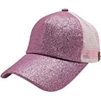 Wanfor Unisex Baseball Cap Solid Color Shiny Mesh Ponytail Hip Hop Style Adjustable Fashion Dad Hat For Girl Boy Men Women for Sport Hiking Summer Sun Outdoor Activity