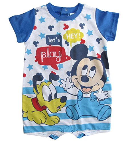 Mickey Mouse Pluto Kollektion 2018 Strampelanzug 62 68 74 80 86 92 Strampler Einteiler Kurz Maus Disney Blau (Blau, 86-92) (T-shirt Pooh Disney Top)