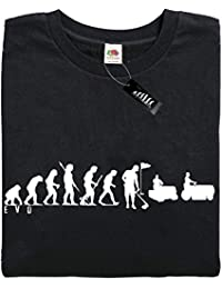 Mans Evolution T-Shirt® EVO Mens Ape to Greenkeeper (golf green keeper) brand new original landscaping funny gift present