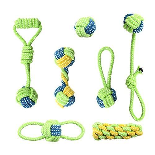 fish 7pcs / Lot Hundespielzeug Haustier-Welpen Zähne sauber im Freien Traning Spaß Spielen Grün Rope Ball Spielzeug für Groß Klein Hund Katze -