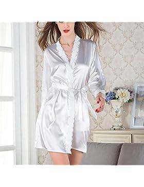 HXQ Accappatoi donna pigiami di seta abiti da sposa Notte corto accappatoio Perfetto Robes abito estivo Robe e...