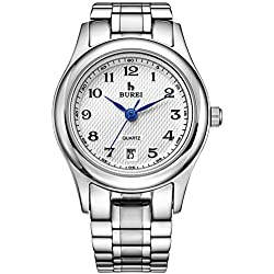 BUREI Women's Quartz Wrist Watches with White Dial Metal Band